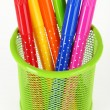 Colorful markers in green metal vase — Stock Photo #60894827