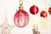 Beautiful red Christmas decorations — Stock Photo