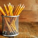 Pencils in metal holder — Stock Photo #60902357