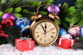 Alarm clock with Christmas decorations — Foto Stock