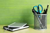 Metal holder with pens — Stok fotoğraf