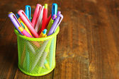 Metal holder with different pens — Foto Stock