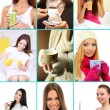 Collage of people with different drinks — Stock Photo #60927249