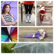 Umbrella concept. Beautiful young girl with umbrella collage — Stock Photo #60927599