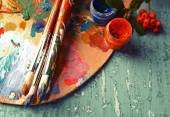 Beautiful still life with professional art materials, close up — Stock Photo