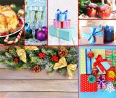 Christmas collage of food and decorations — Stockfoto