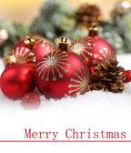 Christmas balls in snow — Stock Photo