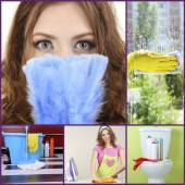 Clean concept. Young housewife cleaning supplies and tools collage — Stock Photo