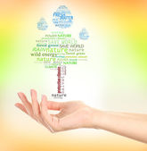 Concept of environmental protection, words in hand on green and yellow background — Stock Photo