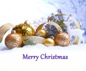 Christmas decorations on light background as greeting card — Photo