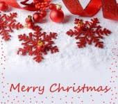 Composizione di Natale sulla neve come cartolina d'auguri — Foto Stock