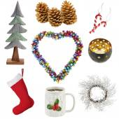 Christmas decorations collage — Stock Photo