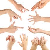 Hand collage, gestures set — Stock Photo