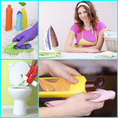 Clean concept. Young housewife with cleaning supplies and tools collage — Stock Photo