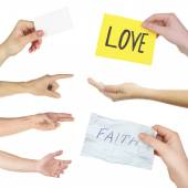 Hand collage, gestures set and hands with cards isolated on white — Stock Photo