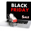 Shopping bags and boxes in shopping cart on laptop isolated on white, Black Friday Sale concept — Stock Photo #60964519