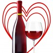 Bottle and glass of red wine with red hearts on background isolated on white — Foto de Stock   #60964629