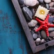 Candles on vintage tray with sea pebbles,starfish and sea shells on wooden background — Stock Photo #60966949