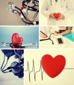 Collage of medical images. Cardiology concept — Stock Photo