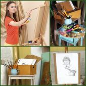 Artist's studio collage — Stock Photo