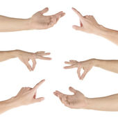 Hand collage, gestures set isolated on white — Stock Photo