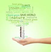 Concept of environmental protection, words in tree shape in hand on green background — Stock fotografie