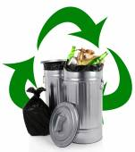 Recycling bins isolated on white, Recycle concept — Stock Photo