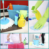 Clean concept. Cleaning supplies and tools collage — Stock Photo