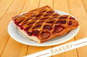 Cherry Pie on table, home bakery concept — Stock Photo