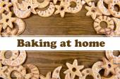 Delicious Christmas cookies on wooden background, Baking at home concept — Stock Photo