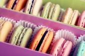 Assortment of gentle colorful macaroons in box, close-up — Stock Photo