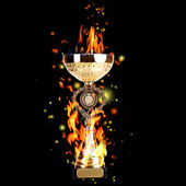 Golden trophy cup with fire on black background, sports poster — Stock Photo