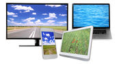 Monitor, laptop, tablet and phone with nature wallpaper on screens in collage isolated on white — Stock Photo