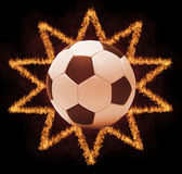 Football ball in firestar frame on black background, sports poster — Stockfoto