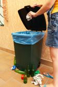Recycling bin on wall background — Stock Photo