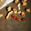 Peanuts on plate, on wooden background — Stock Photo #60973627