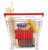 购物车为家的装修材料,孤立的白色衬底上 — 图库照片