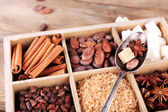 Wooden box with set of coffee and cocoa beans, sugar cubes, dark chocolate, cinnamon and anise, close-up — Foto de Stock