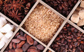 Wooden box with set of coffee and cocoa beans, sugar cubes, dark chocolate, cinnamon and anise on wooden background — Foto de Stock