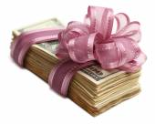 Bundle of dollars tied with ribbon isolated on white — Stock Photo