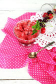 Cherry granita in glass bowl — Stock Photo
