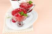 Cherry granita in glass bowls — Stock Photo
