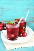 Cherry granita in glasses — Stock Photo