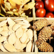 Autumn composition in decorative wooden box, close up — Stock Photo #61009697