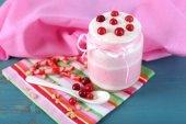 Raspberry milk dessert — Foto de Stock