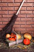 Pumpkins in wooden box — Stock Photo