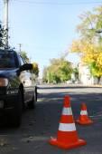 Traffic cones on road — Stock Photo