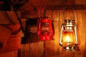 Lantern hanging on hook — Stockfoto