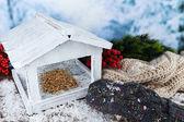 White Handmade birdhouse — Zdjęcie stockowe