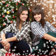 Beautiful young sisters twins. Christmas and New Year — Stock Photo #61040853